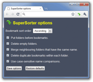 SuperSorter: gestione preferiti con Google Chrome