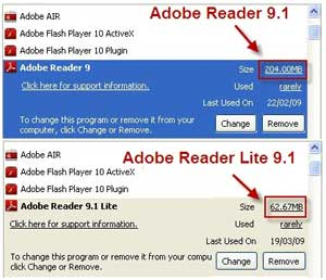 """Download della versione """"compressa"""" di Adobe Reader 9.1"""