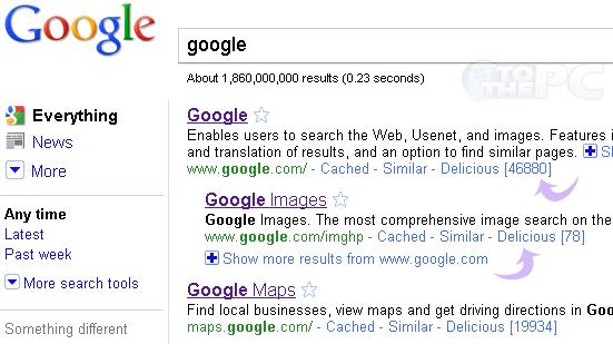 Contatori Delicious su Google Search
