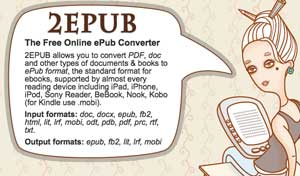 Free ePub Converte è un servizio che riesce a convertire file in formato per ebook reader.