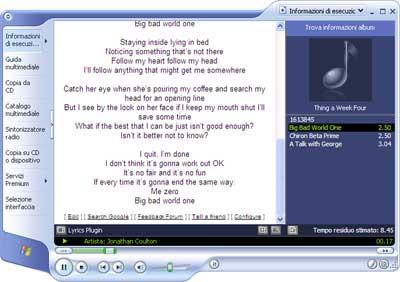 Trovare i testi delle canzoni con Lyrics Plugin