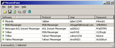 MessenPass: Scoprire la password di msn messenger
