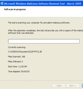 Microsoft's malicious software removal tool