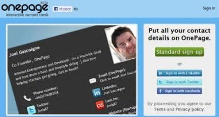 Myonepage - Creare biglietto da visita sul web