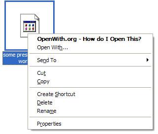 Openwith, Con quale programma posso aprire i file?