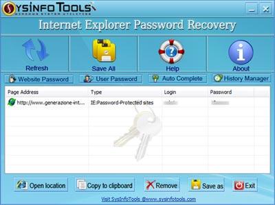 Salvataggio password Internet Explorer