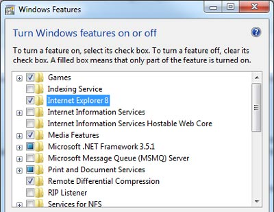 Rimuovere e Disinstallare Internet Explorer 8 da Windows 7