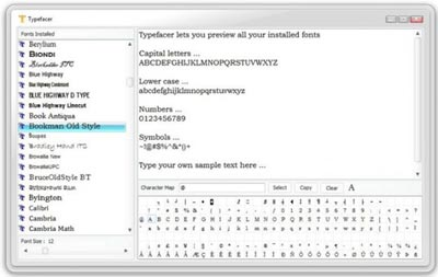 Visualizzare velocemente i font installati