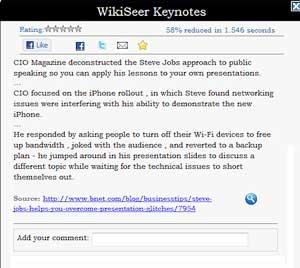 Riassunto dei testi online con WikiSeer